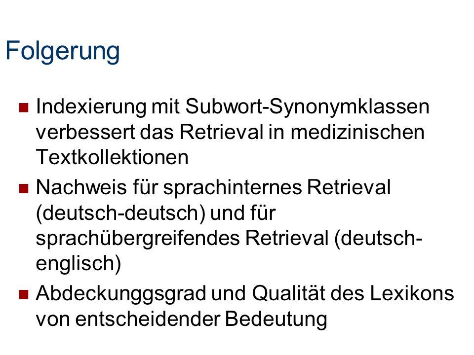 Folgerung Indexierung mit Subwort-Synonymklassen verbessert das Retrieval in medizinischen Textkollektionen.