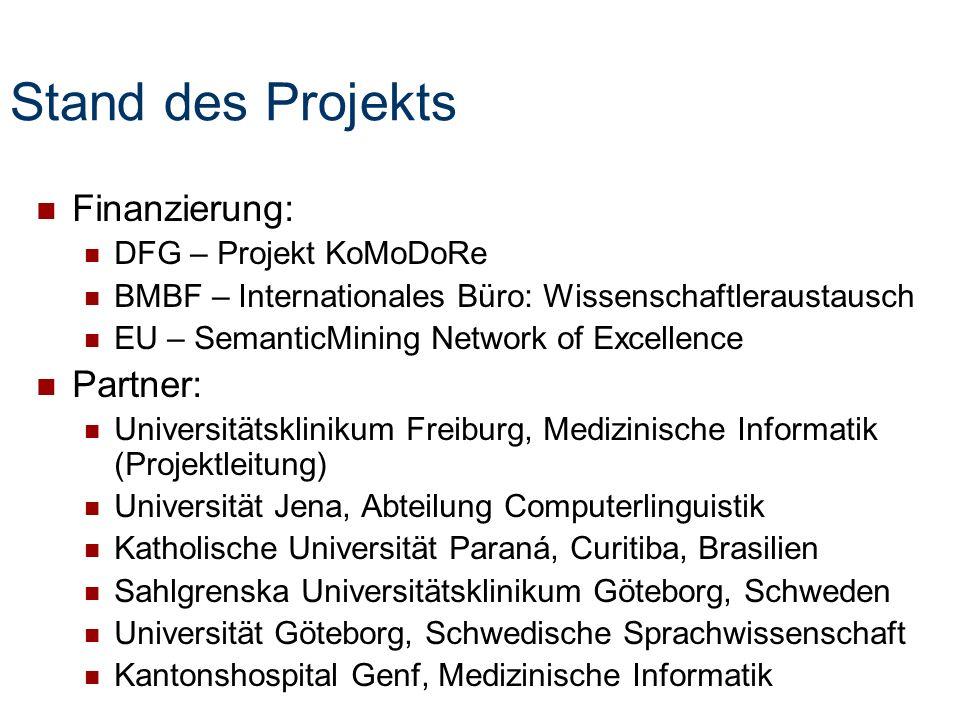 Stand des Projekts Finanzierung: Partner: DFG – Projekt KoMoDoRe