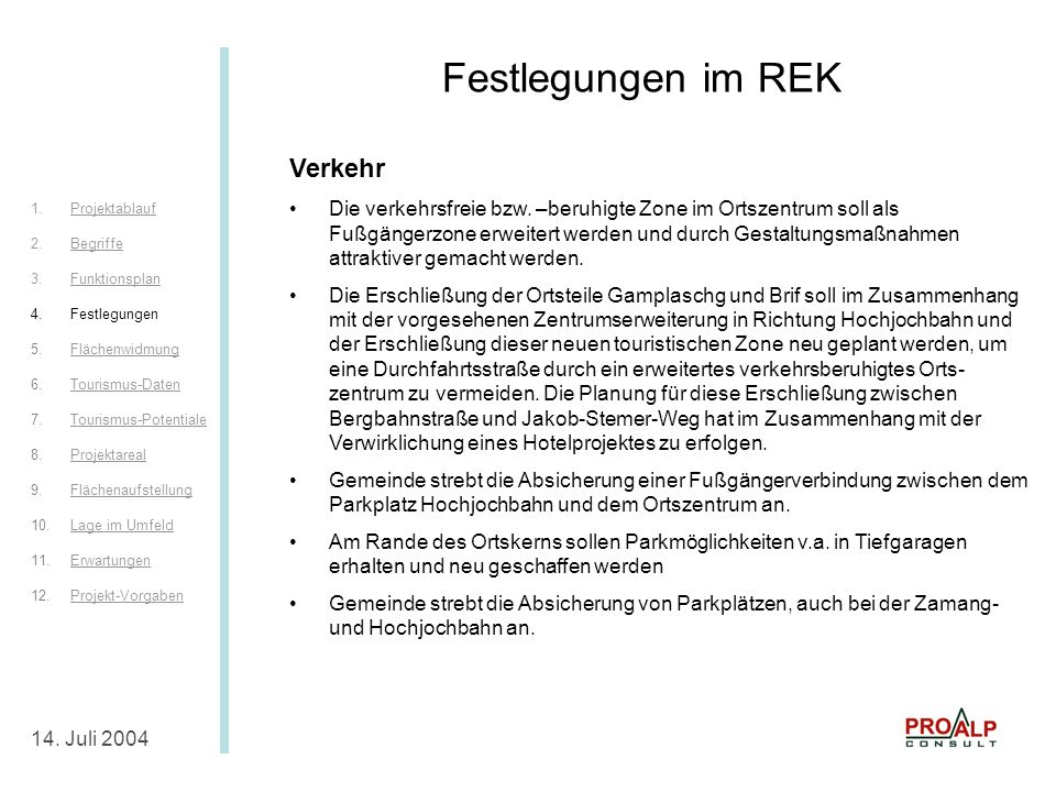 Festlegungen im REK IV Festlegungen im REK Verkehr