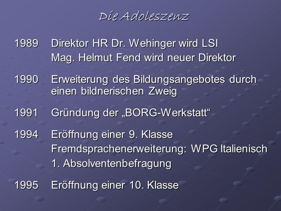 Die Adoleszenz 1989 Direktor HR Dr. Wehinger wird LSI