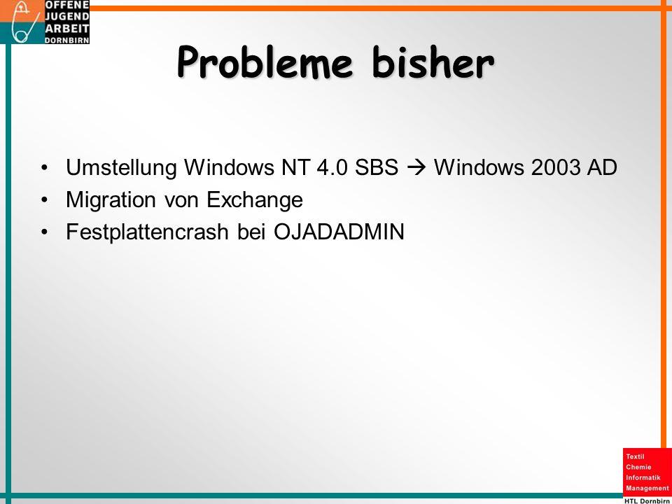 Probleme bisher Umstellung Windows NT 4.0 SBS  Windows 2003 AD