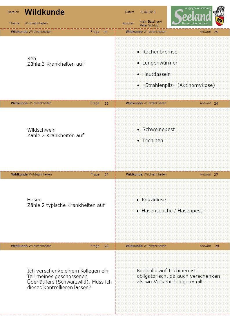«Strahlenpilz» (Aktinomykose) Reh Zähle 3 Krankheiten auf