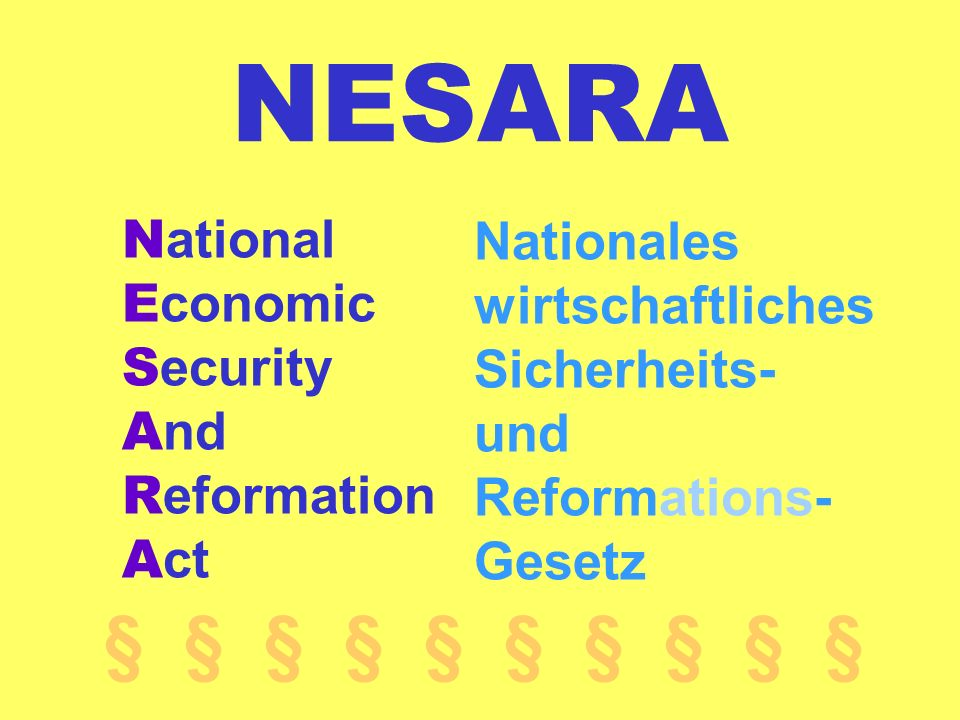 NESARA National Economic Security And Reformation Act. Nationales wirtschaftliches Sicherheits- und Reformations- Gesetz.