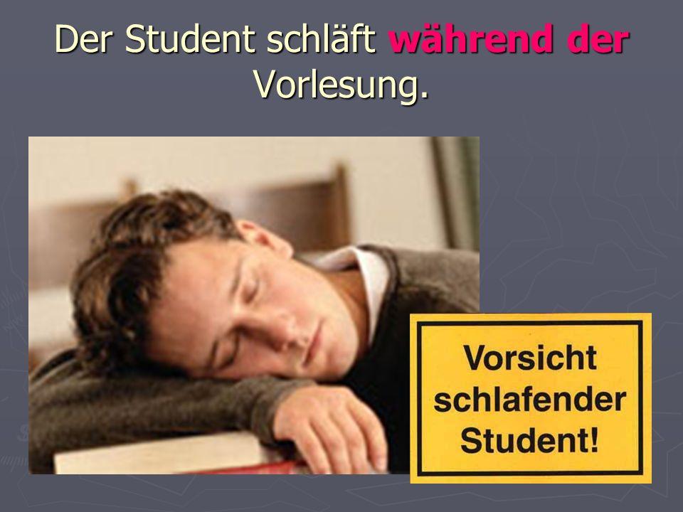 Der Student schläft während der Vorlesung.