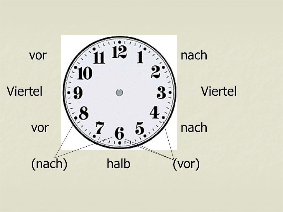 vor nach Viertel Viertel (nach) halb (vor)
