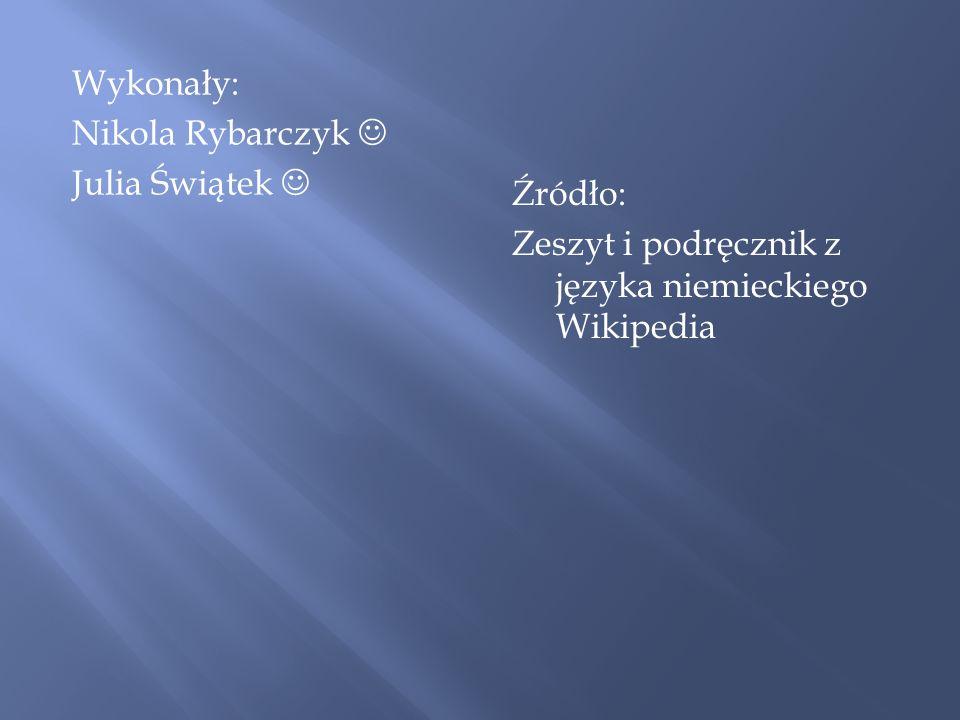 Wykonały: Nikola Rybarczyk  Julia Świątek 