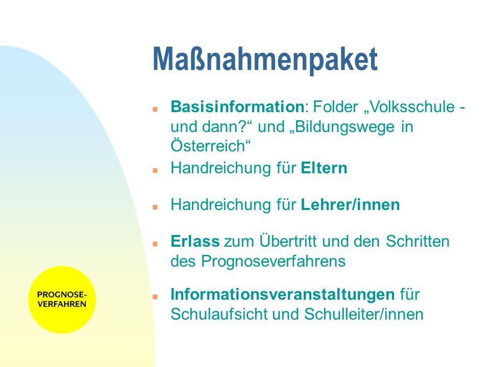 """28.03.2017 Maßnahmenpaket. Basisinformation: Folder """"Volksschule - und dann und """"Bildungswege in Österreich"""