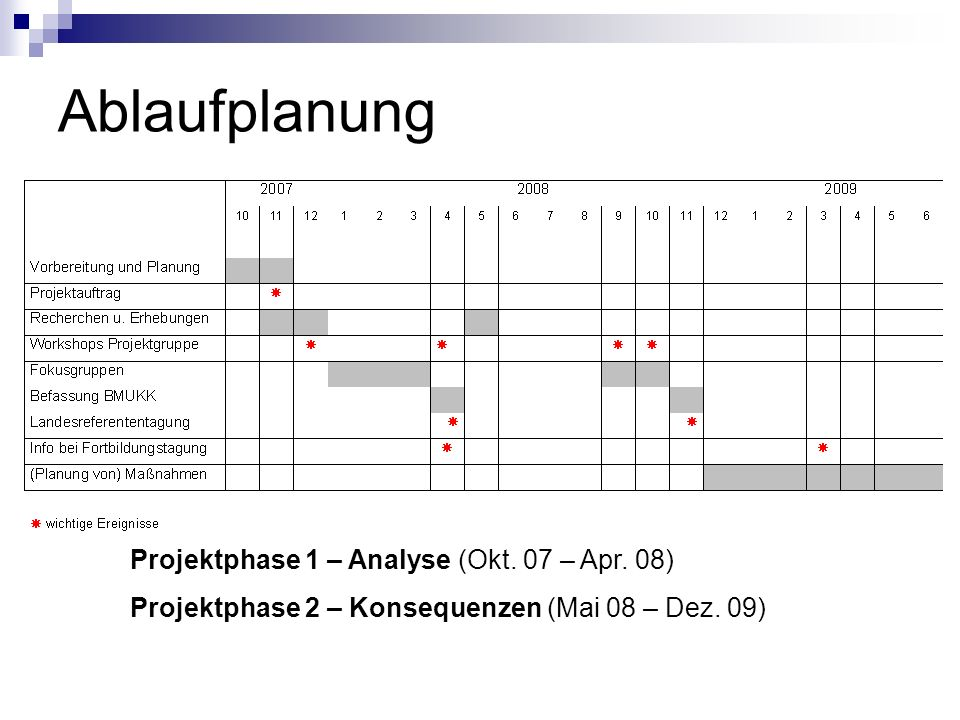 Ablaufplanung Projektphase 1 – Analyse (Okt. 07 – Apr. 08)
