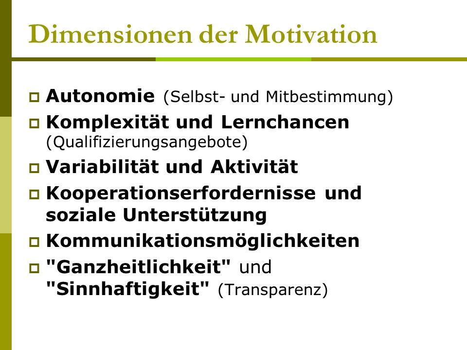 Dimensionen der Motivation