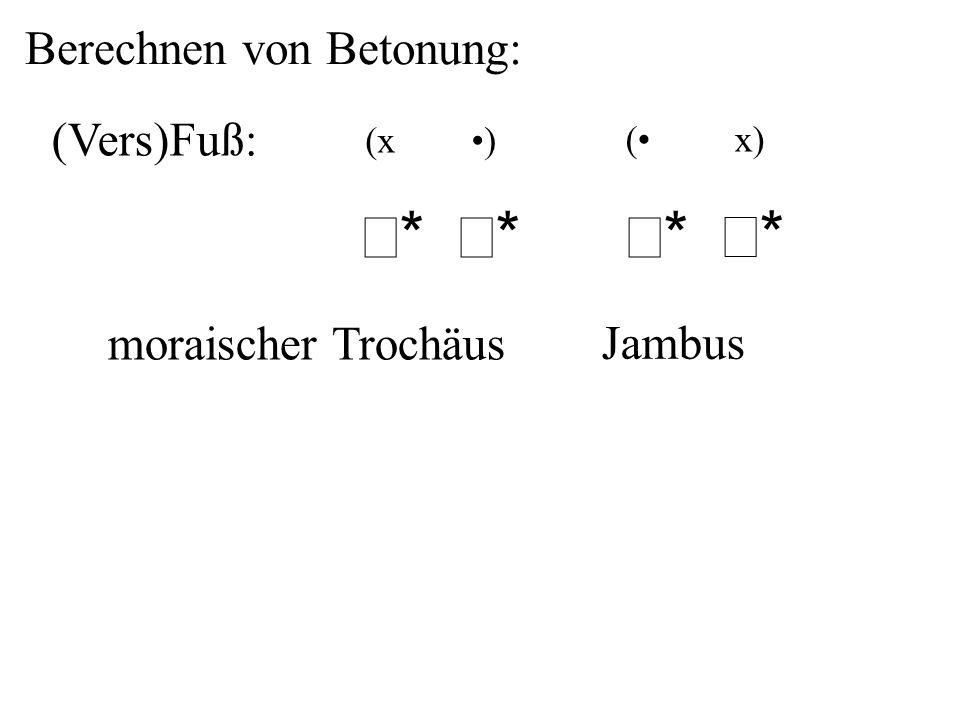 σ* σ* Berechnen von Betonung: (Vers)Fuß: moraischer Trochäus Jambus