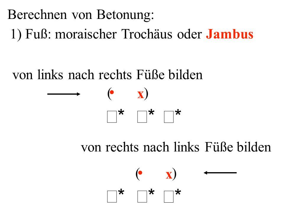 σ* σ* Berechnen von Betonung: 1) Fuß: moraischer Trochäus oder Jambus