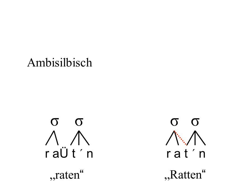 """Ambisilbisch σ σ σ σ r aÜ t ´ n r a t ´ n """"raten """"Ratten"""