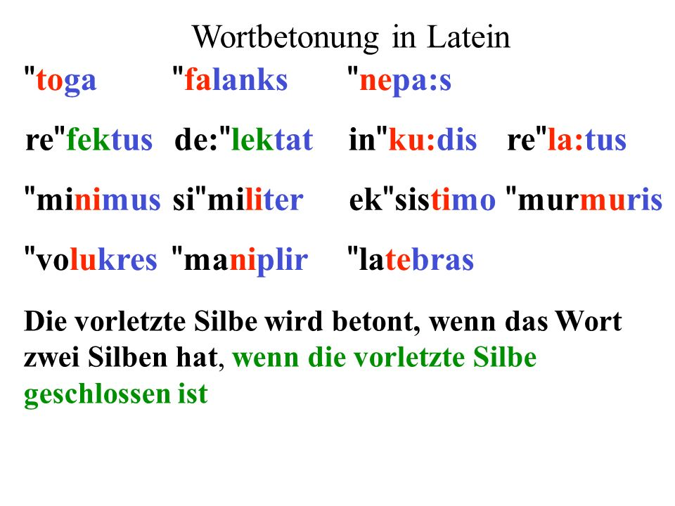 Wortbetonung in Latein