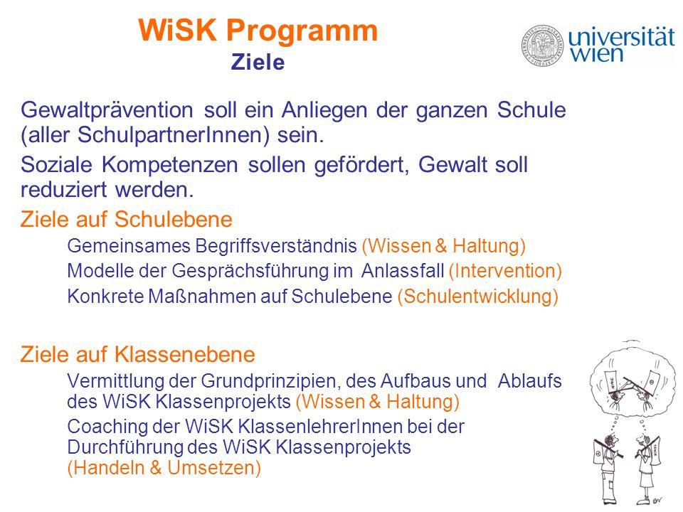 WiSK Programm Ziele Gewaltprävention soll ein Anliegen der ganzen Schule (aller SchulpartnerInnen) sein.