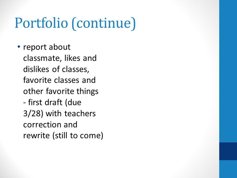 Portfolio (continue)