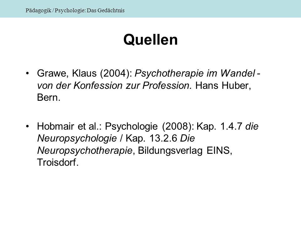 Quellen Grawe, Klaus (2004): Psychotherapie im Wandel - von der Konfession zur Profession. Hans Huber, Bern.