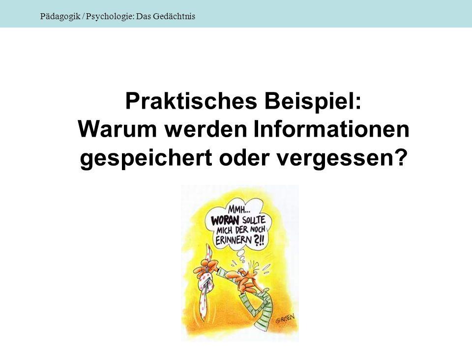 Praktisches Beispiel: Warum werden Informationen gespeichert oder vergessen