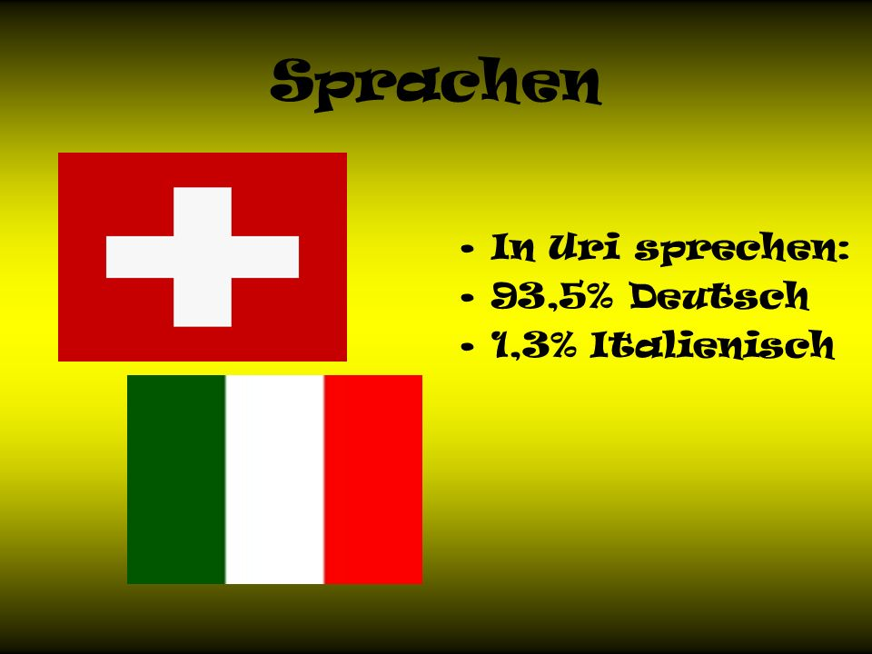 Sprachen In Uri sprechen: 93,5% Deutsch 1,3% Italienisch