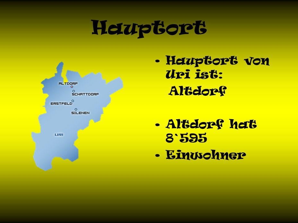 Hauptort Hauptort von Uri ist: Altdorf Altdorf hat 8`595 Einwohner