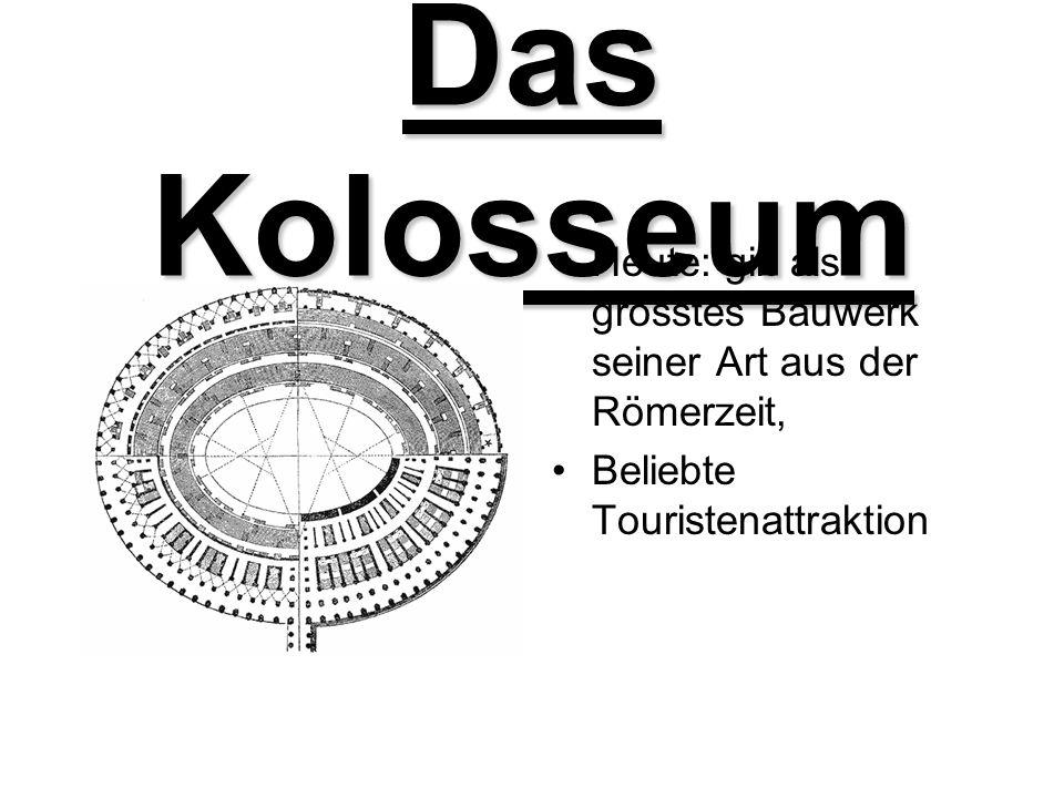 Das Kolosseum Heute: gilt als grösstes Bauwerk seiner Art aus der Römerzeit, Beliebte Touristenattraktion.