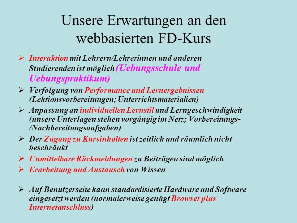 Unsere Erwartungen an den webbasierten FD-Kurs