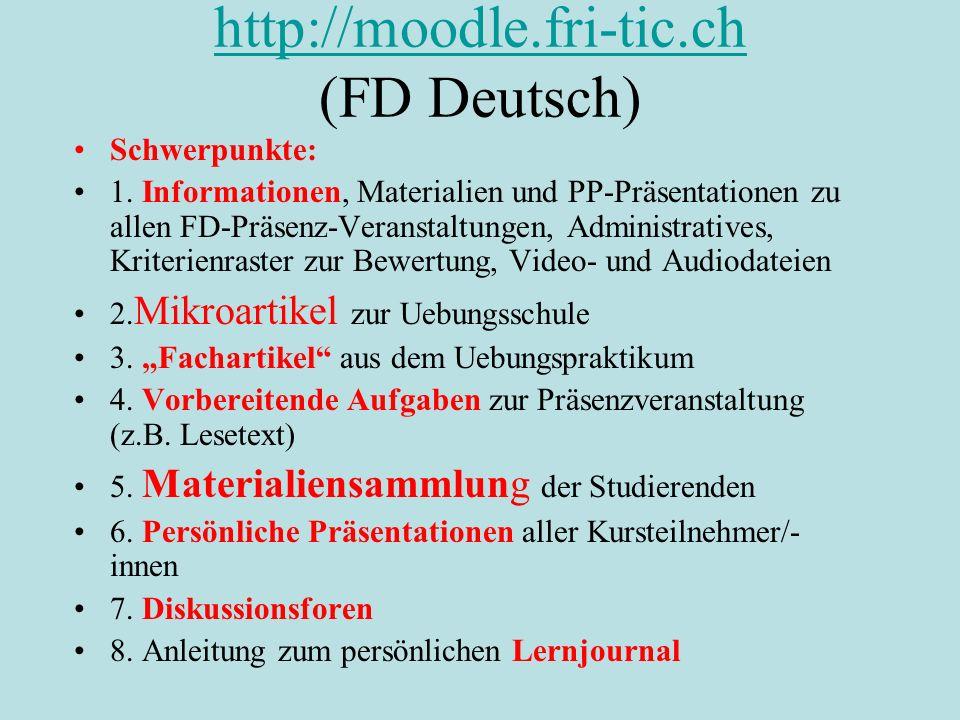 http://moodle.fri-tic.ch (FD Deutsch)