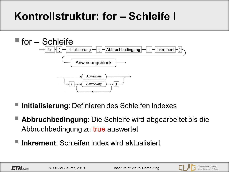 Kontrollstruktur: for – Schleife I