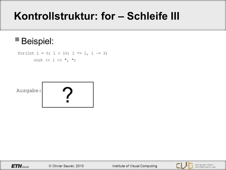 Kontrollstruktur: for – Schleife III