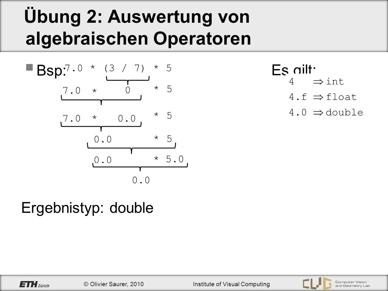 Übung 2: Auswertung von algebraischen Operatoren