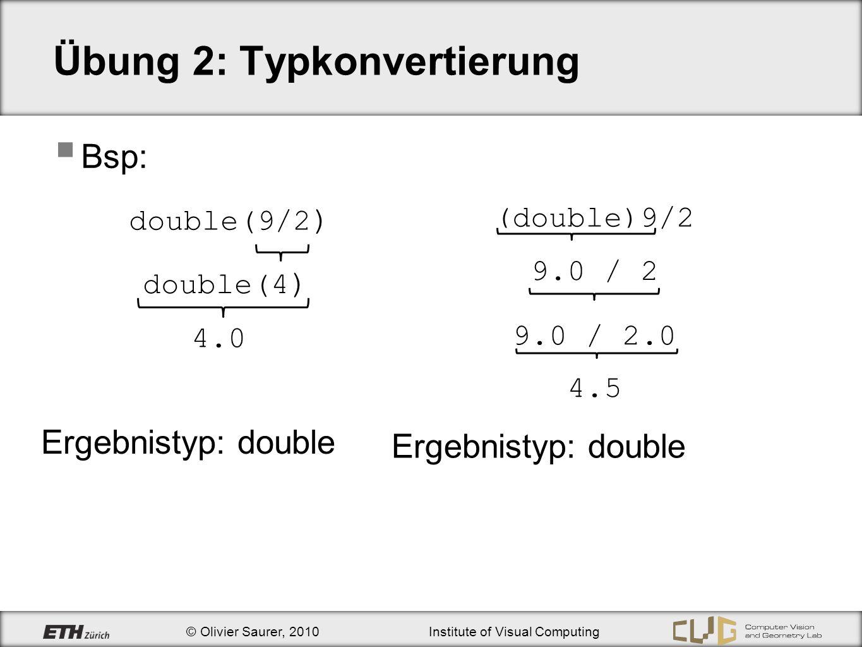 Übung 2: Typkonvertierung