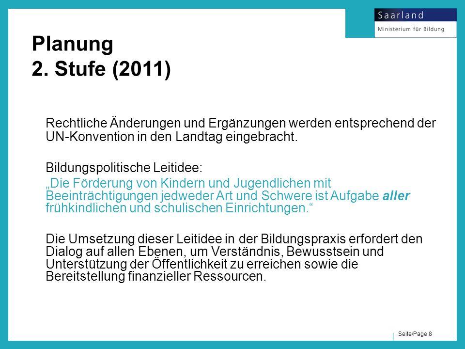 Planung 2. Stufe (2011) Rechtliche Änderungen und Ergänzungen werden entsprechend der UN-Konvention in den Landtag eingebracht.