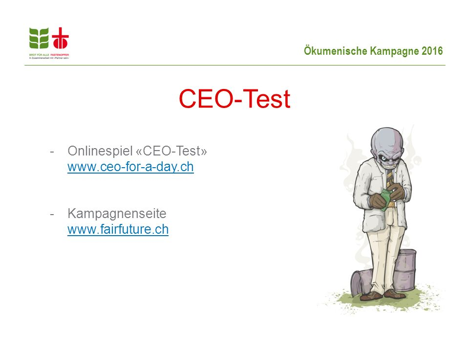 CEO-Test Onlinespiel «CEO-Test» www.ceo-for-a-day.ch