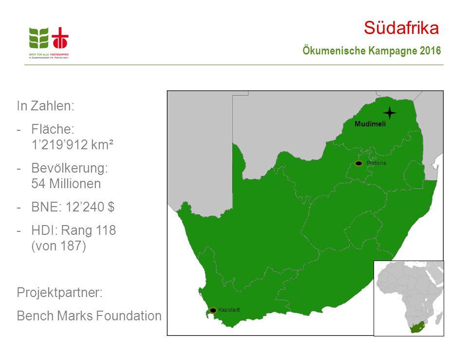 Südafrika In Zahlen: Fläche: 1'219'912 km² Bevölkerung: 54 Millionen