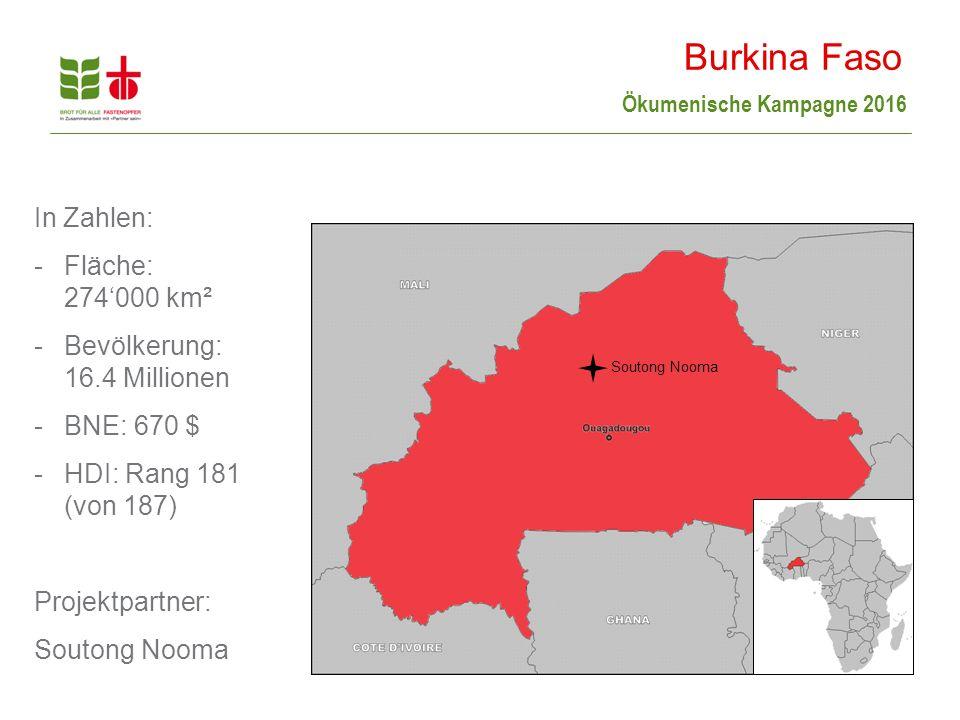 Burkina Faso In Zahlen: Fläche: 274'000 km²