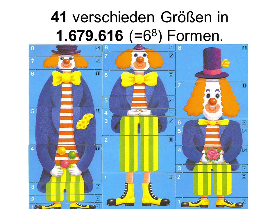 41 verschieden Größen in 1.679.616 (=68) Formen.