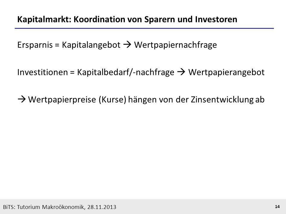 Kapitalmarkt: Koordination von Sparern und Investoren
