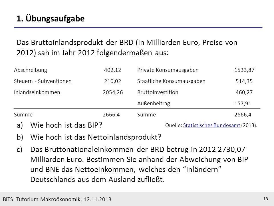 1. Übungsaufgabe Das Bruttoinlandsprodukt der BRD (in Milliarden Euro, Preise von 2012) sah im Jahr 2012 folgendermaßen aus: