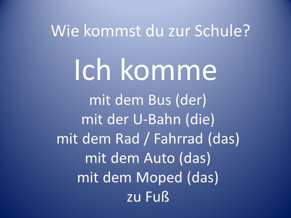 Ich komme Wie kommst du zur Schule mit dem Bus (der)