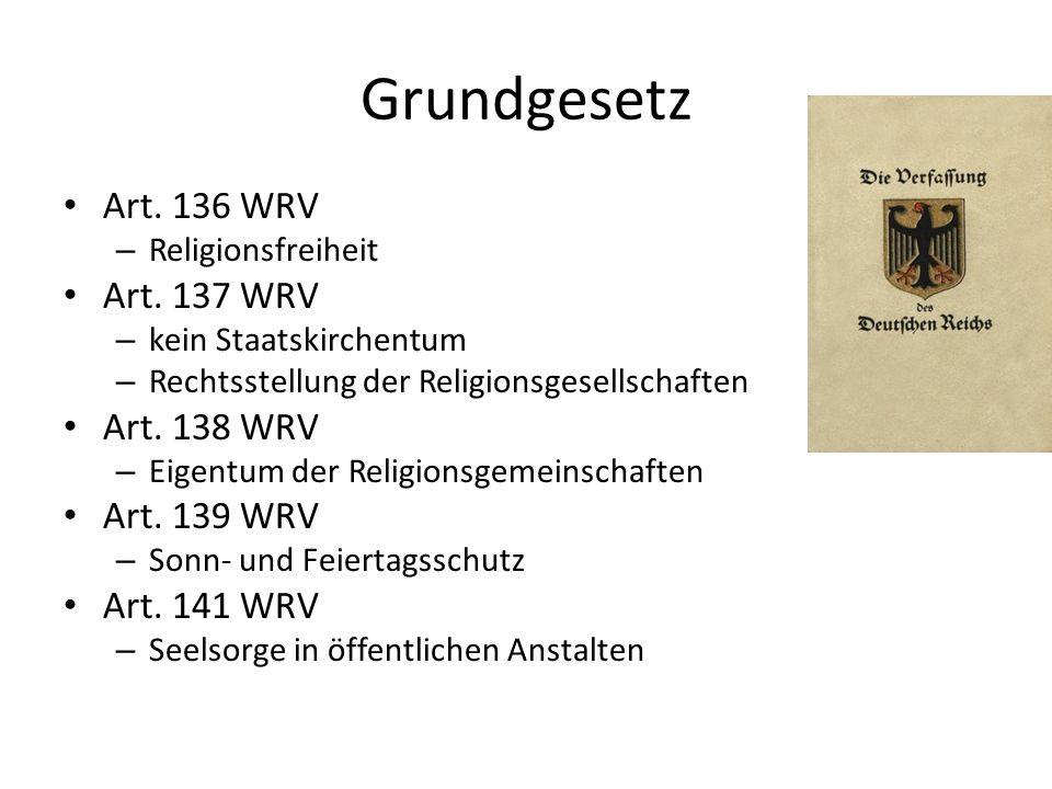 Grundgesetz Art. 136 WRV Art. 137 WRV Art. 138 WRV Art. 139 WRV