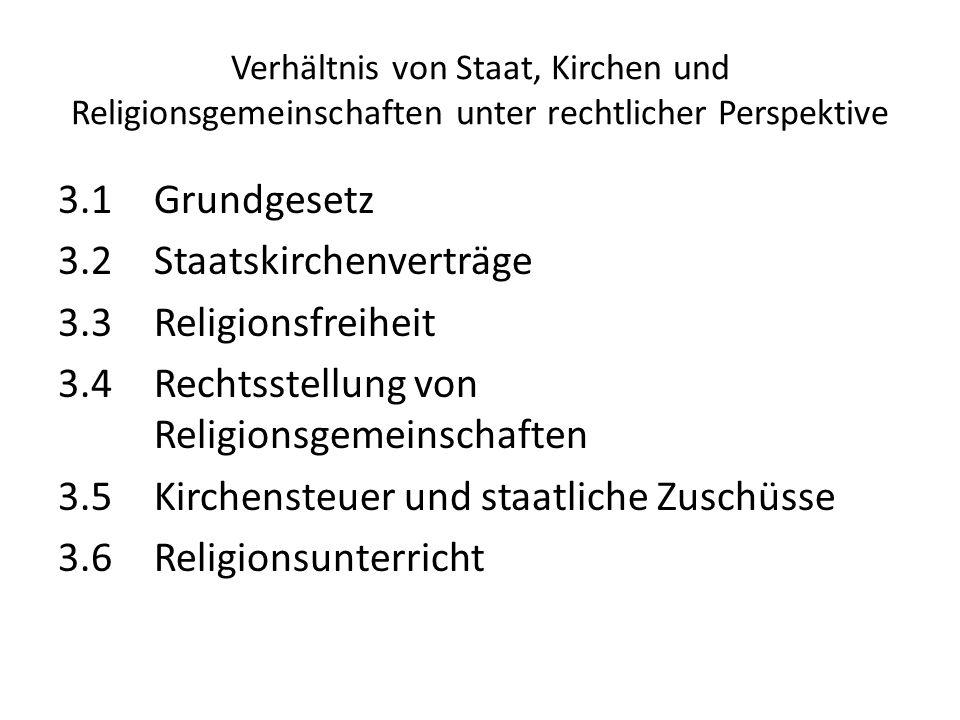 Verhältnis von Staat, Kirchen und Religionsgemeinschaften unter rechtlicher Perspektive
