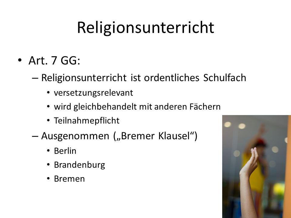 Religionsunterricht Art. 7 GG: