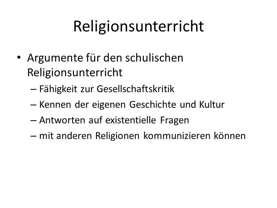 Religionsunterricht Argumente für den schulischen Religionsunterricht