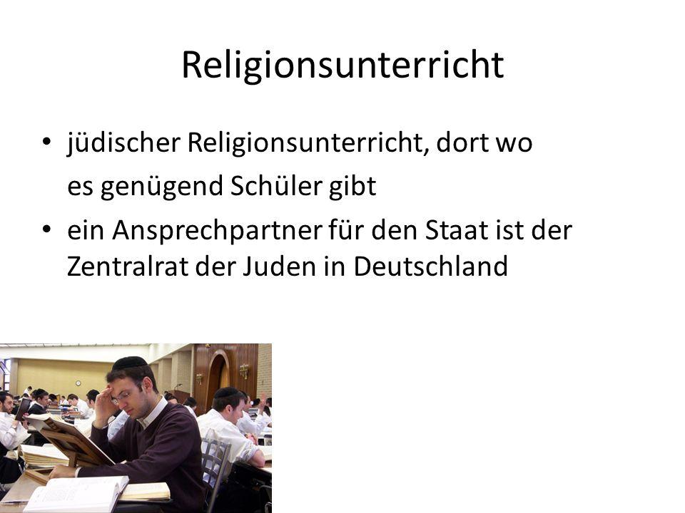 Religionsunterricht jüdischer Religionsunterricht, dort wo