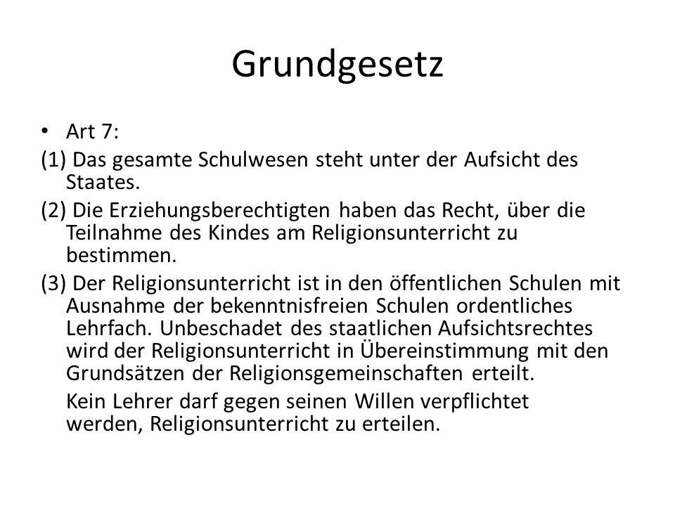 Grundgesetz Art 7: (1) Das gesamte Schulwesen steht unter der Aufsicht des Staates.
