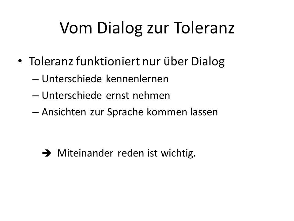 Vom Dialog zur Toleranz