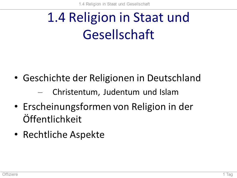 1.4 Religion in Staat und Gesellschaft