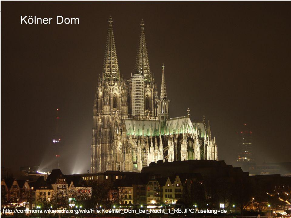 Kölner Dom http://commons.wikimedia.org/wiki/File:Koelner_Dom_bei_Nacht_1_RB.JPG?uselang=de