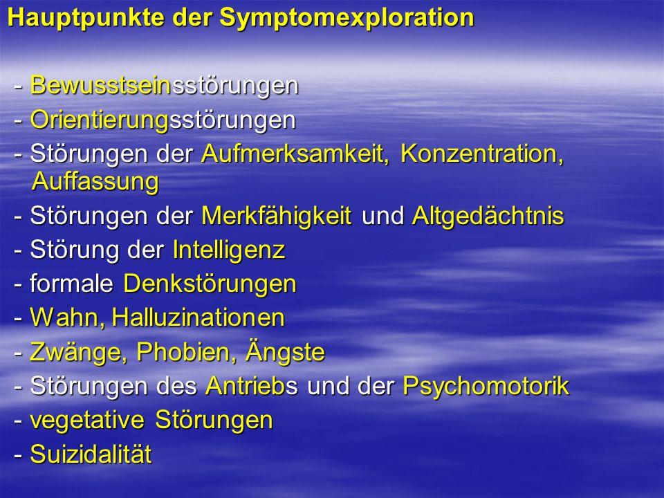 Hauptpunkte der Symptomexploration