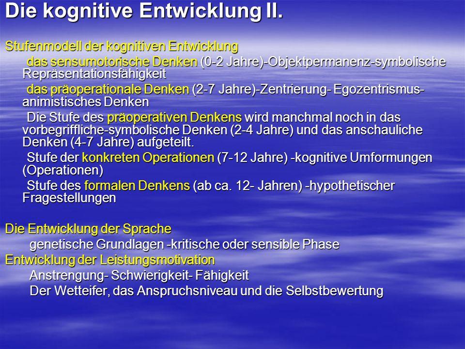 Die kognitive Entwicklung II.