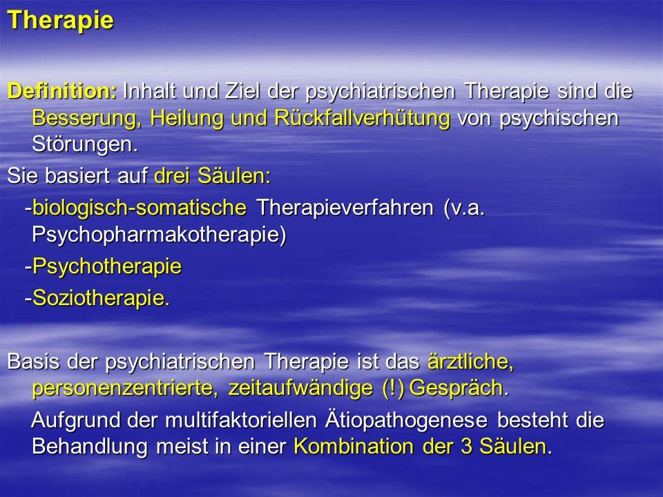 Therapie Definition: Inhalt und Ziel der psychiatrischen Therapie sind die Besserung, Heilung und Rückfallverhütung von psychischen Störungen.